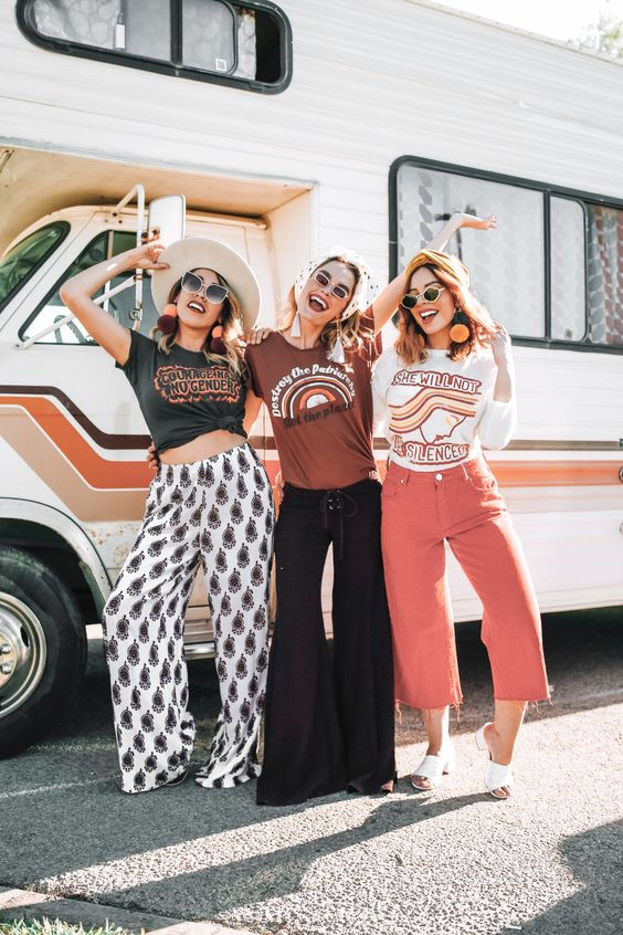 Sololu Havana Wide Leg Pants (left) and Dazey LA Tees on @frankvinyl @officiallyquigley @emilyvartanian • www.sololu.com © Danielle Nagel