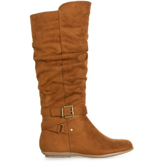 ShoeDazzle Boots Desirae Womens Beige ❤ liked on Polyvore featuring shoes, boots, beige, scrunch boots, beige shoes, scrunch flat shoes, beige boots and flat boots