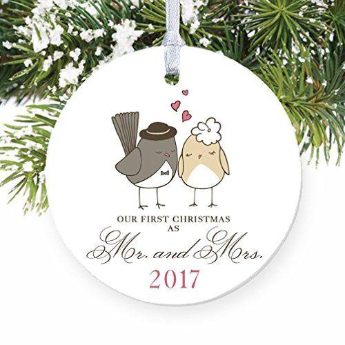 Love Birds Ornament 2017 Mr Mrs Ornament Wedding Gift Porcelain Ornament 1st Married Christmas 3 Flat Keepsake Wedding Gift Wedding Gifts Christmas Ornaments