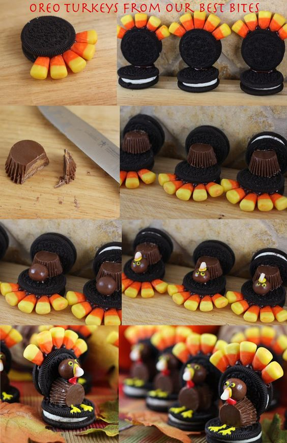 Turkey Oreos from Our Best Bites  #Thanksgiving #TurkeyTreats Can't wait until Thanksgiving to do this with my kids in Children's Church!!!:
