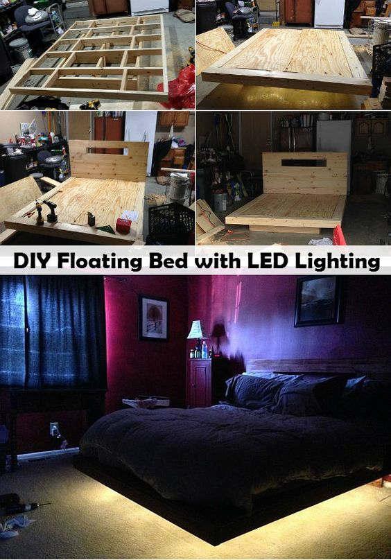 diy floating bed with led lighting sick of typical beds in your home why not ugrade your bed to this amazing looking diy floating bed with led lighting bed lighting home