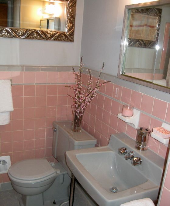 Pink and gray shower curtain 1950s retro bath pink tile for 1950s bathroom tile floor