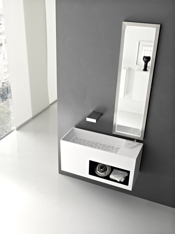 bathroom, Modern White Bathroom Washbasin Design Ideas With Mirror And Grey Bathroom Wall Design: Various Kind Of Bathroom Vanity in Modern Italian Bathroom Design