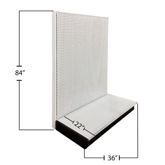 "Wall Unit Starter, 4' Length, 84"" Height, 22"" Base Depth, Pegboard Backing, White #Double #Side #Gondola #Gondolas #Endcap #both #sides #Double #Unit #Starter #Pegboard #Backing #white #store #fixtures #miami #displaysDepot #depot #displays #Wall"