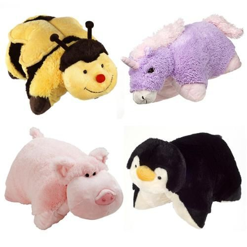 Set Of 4 Pillow Pets Pee Wees Stuffed Animal Plush Kids Bedtime