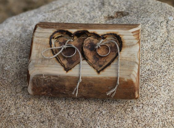 rustic wood ring bearer pillow with two hearts could use woodburning for names and dates. Black Bedroom Furniture Sets. Home Design Ideas