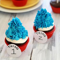 Dr Seuss Thing 1 and 2 Cupcakes...Cute for Dr Sueuss bday :):