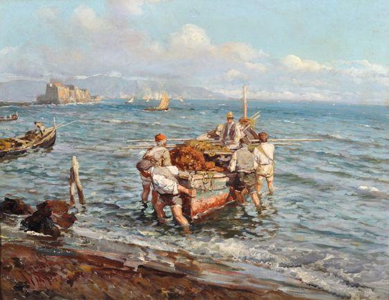 Giardiello Giuseppe (Napoli 1871 - 1916) - Pescatori a Mergellina: