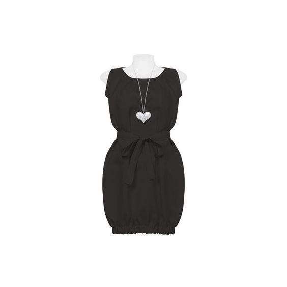 Black Bubble Dress ❤ liked on Polyvore featuring dresses, woven dress, tie waist dress, braid dress and bubble dress