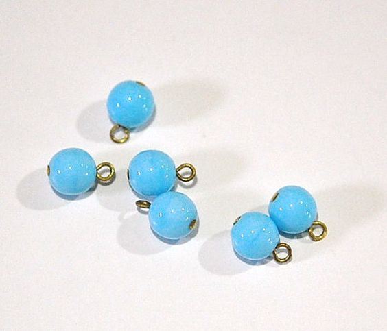 1 Loop Light Blue Smooth Glass Drops Czech Beads by yummytreasures
