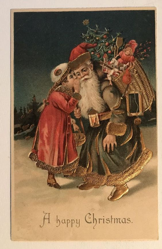 Brown Robe SANTA CLAUS with Little Girl~Toys~ Antique Christmas Postcard-k668 #Christmas