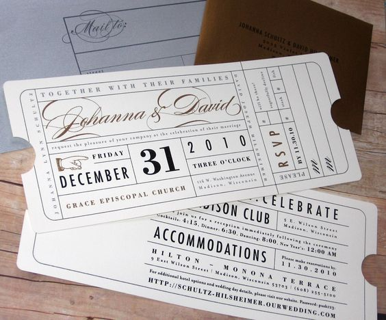 Vintage Ticket - Wedding Invitation Good for a couple that loves - airline ticket invitation