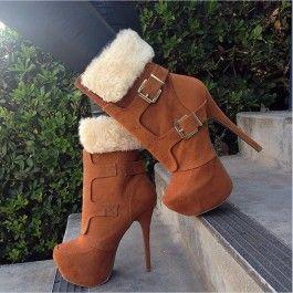 Tan Faux Suede Fur Trimmed Platform Booties $34.99