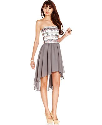 As U Wish Juniors Dress Strapless Sequin High-Low - Juniors ...
