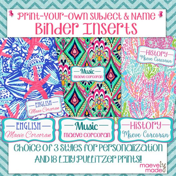 Print-Your-Own Subject & Name Binder Inserts by maevelymade