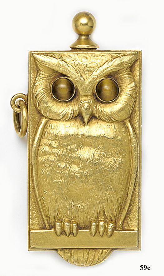Art Nouveau Owl withTiger's Eye--- Gold Match Safe and Striker