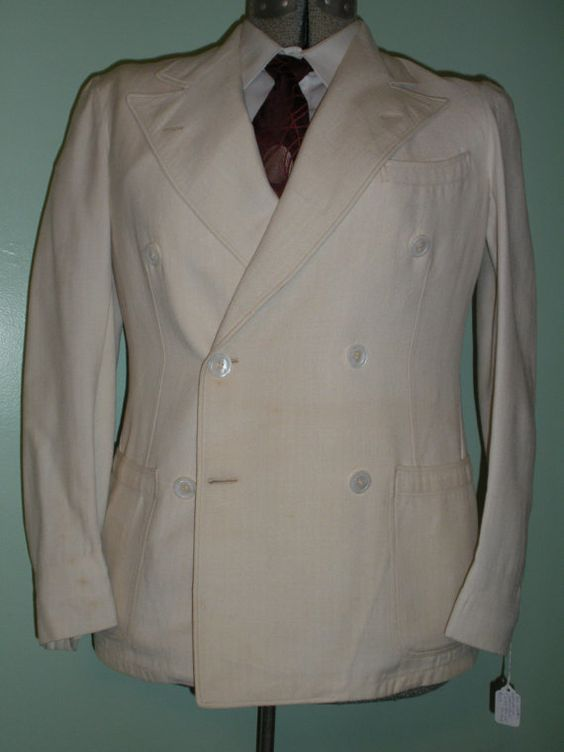Rare 1930s 30s Cream DB BELTED Back Sports Coat antique jacket