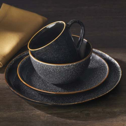 16 Piece Burns Dinnerware Set Black Speckled Plates Bowls Mugs Complete For 4 Dinnerware Set Rustic Dinnerware Dinnerware