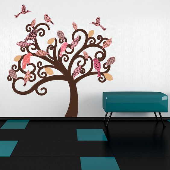 Vintage Tree - floral wall decal, sticker, mural art home decor