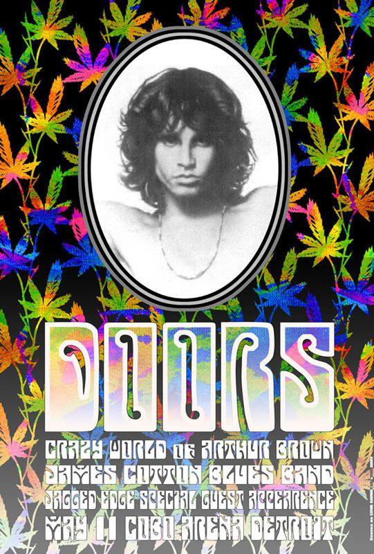 ☮ American Hippie Classic Rock Music Poster ~ Doors Psychedelic Concert Poster '68 Morrison