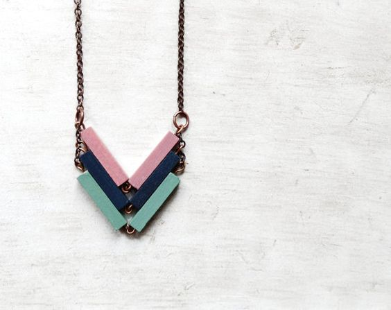 Wood Geometric Necklace // FUTURE // Minimal Jewelry // Blue // Pink // Mint // Hand-Painted Necklace // Modern Necklaces // Wood Pendant