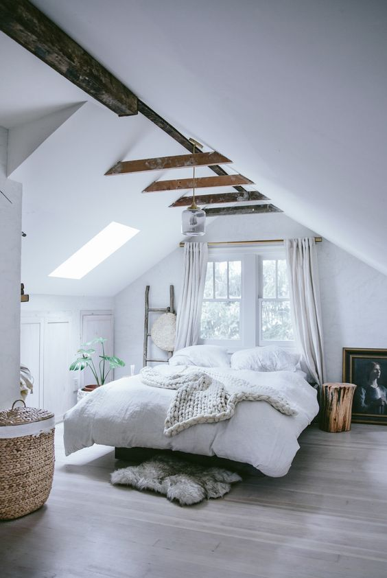 white ceiling with contrasting beams
