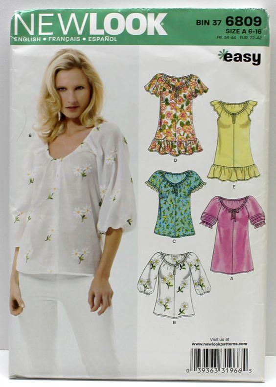 women, teen, top,blouse, New Look pattern Bin 37 no 6809 in size A 6-16, women top, women blouse,new look pattern,women, teen,top,blouse,