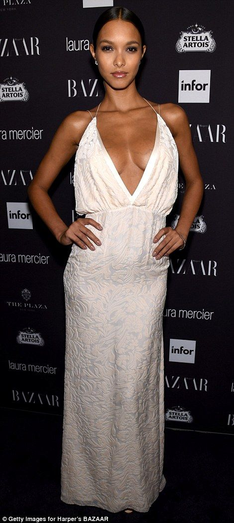 A true Angel! Victoria's Secret Angel Lais Ribeiro looked show-stopping in a cream backless floor-length gown