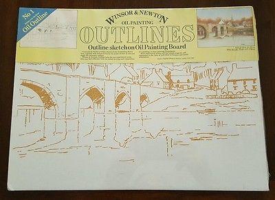 Winsor & Newton oil painting outline sketch board NIP bridge over water DIY art