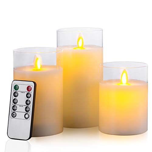 NEW Pottery Barn Lit Flameless Candle Christmas Ornaments w//Remote~SET OF 8