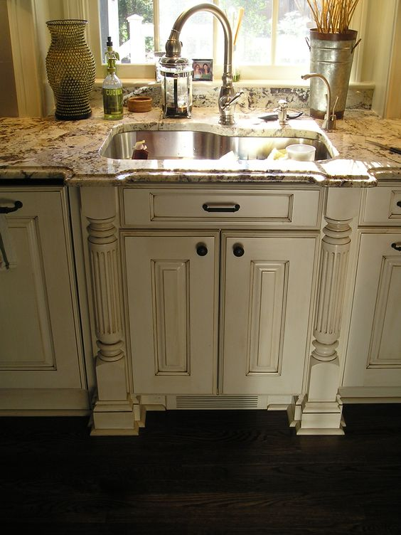 Kitchen cabinets cabinets and dark wood on pinterest - Off white cabinets with chocolate glaze ...