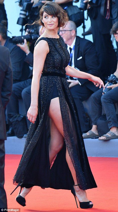 Stunning, Gemma Arterton, 30, arrived at the premiere of Jude Law film The Young Pope in t...