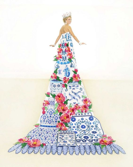 Anne-Marie Breedlove, Duchess of the Pearl of the Orient: This train's centerpiece is peonies and Ming Dynasty porcelain jars in sequins, bugle beads and crystals. The silk shantung bodice is embroidered in blue crystals and opalescent seed beads. Blue sequins and Austrian crystals create a floral motif on a tulle skirt. She is the daughter of Mr. and Mrs. Kirk Betten Feldmann.:
