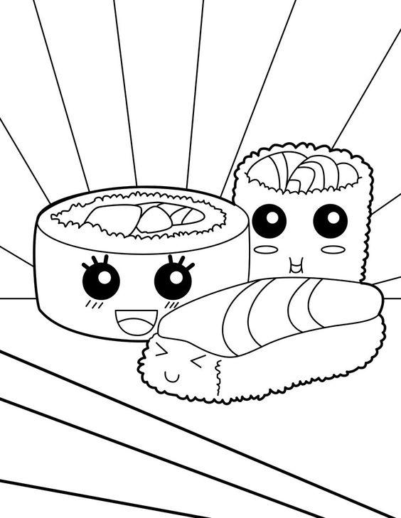 Kawaii sushi coloring page
