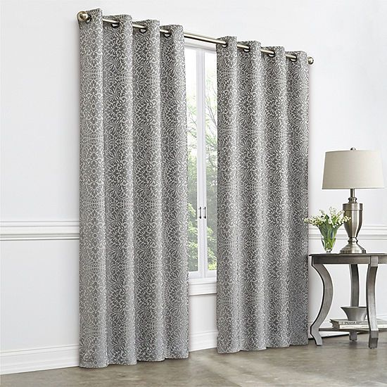 Jcpenney Home Plaza Tapestry Blackout Grommet Top Curtain Panel