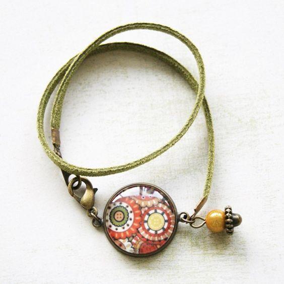 Bracelet Double Tour Cabochon « Ethnique Chic » - bracelet manchette - Lfeemain - Fait Maison