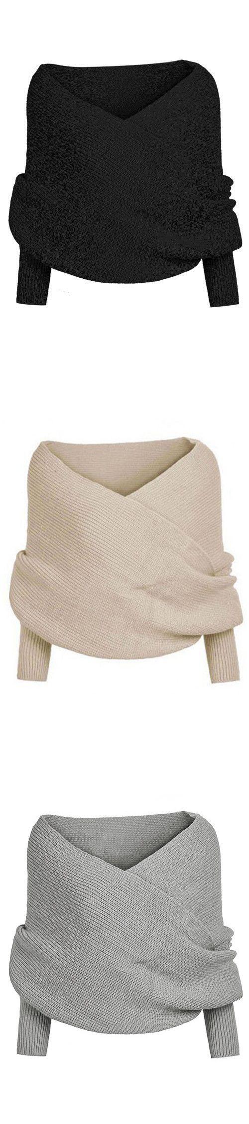 Cross Front Design Knit Cape