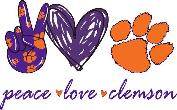 Peace Love Clemson Clemson Tigers Football Baseball Basketball Soccer Volleyball Gymnastics Png Png Clemson Tigers Football Clemson Art Clemson Tigers