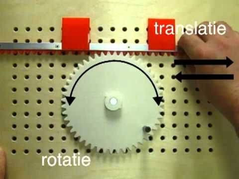 tandwielen, tandheugel, rotatie, translatie, technologisch, gears, rack, rotation, translation - YouTube