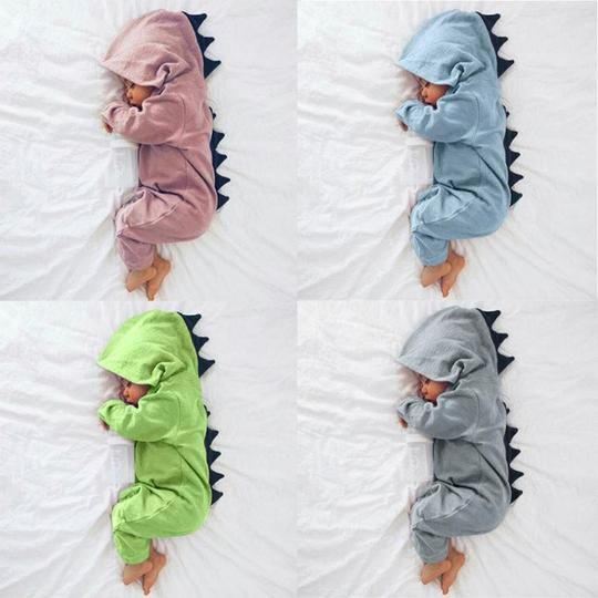 Toddler Baby Boys Girls Dinosaur Clothes Hooded Cute Romper Baby Grows Outfit