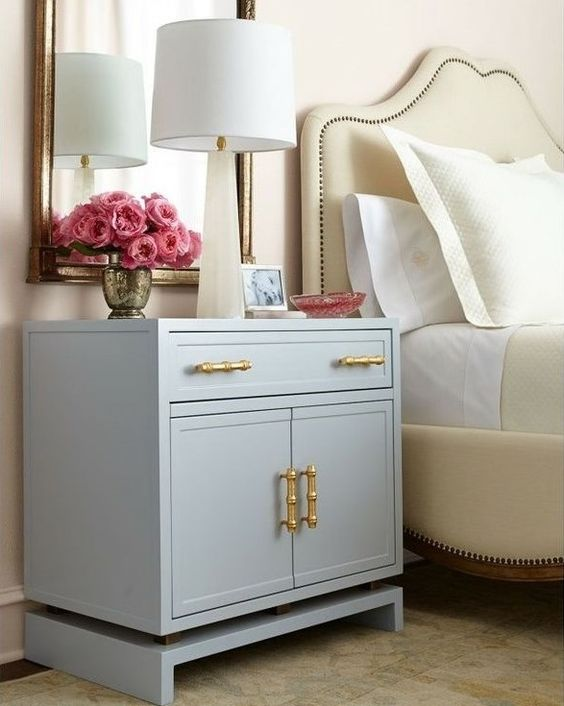 Nightstand too low? Make a platform and paint or stain it the same color as your nightstand to raise it up to the appropriate level. Helps to either extend the life of your existing tables or helps make imperfect thrift pieces fit their new homes.