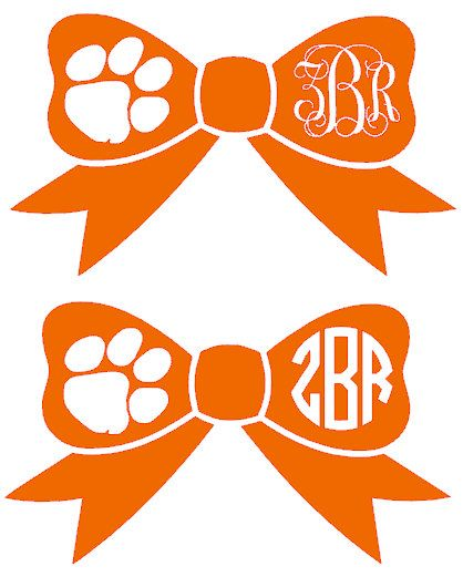 Clemson Paw Monogram Bow Decal Wolves Be Cool And Monograms