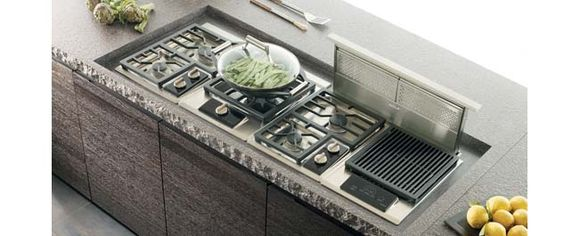 rangehood! - The Wolf Cooktop Downdraft rises from the countertop ...