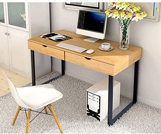 Okbop Modern Writing Desk 47 Laptop Computer Desk Small Home Office Desk With 2 Drawer Wood Student Stud In 2020 Small Home Office Desk Study Table Computer Table