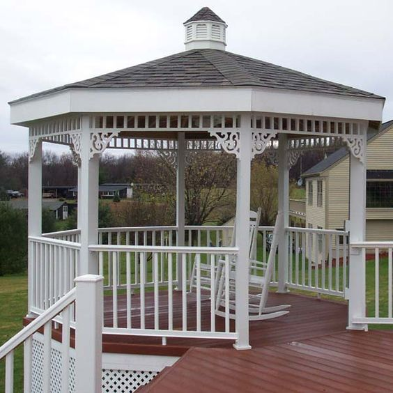This custom built gazebo was created to add another room for Built in gazebo