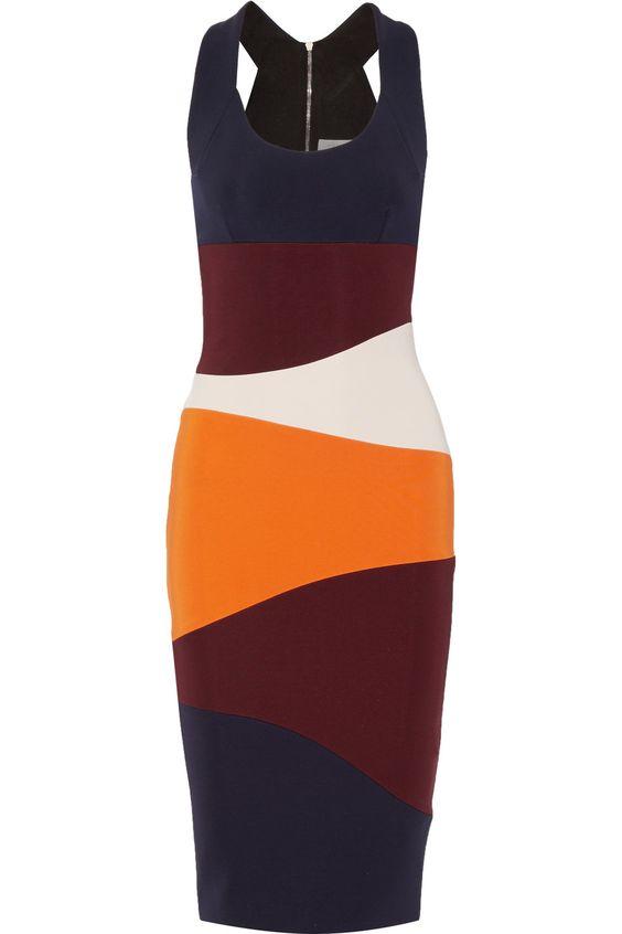VICTORIA BECKHAM Striped Stretch-Ponte Dress. #victoriabeckham #cloth #dress