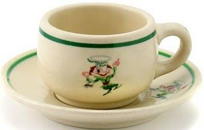 CROCKERY - CHICAGO - PETER PAN SNACK SHOPS - CUP AND SAUCER - 1950s