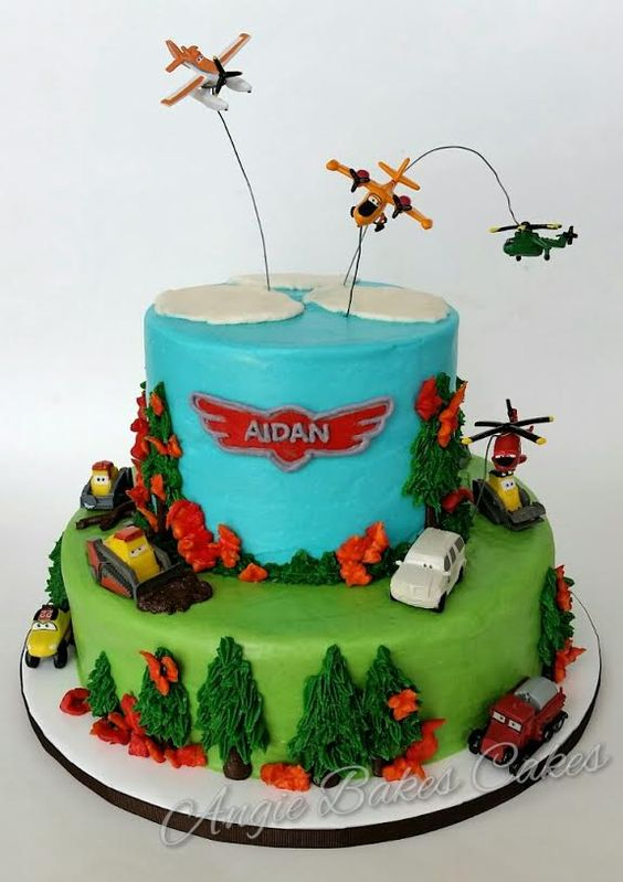 Planes fire and rescue banana cake with buttercream - Banana cake decoration ...