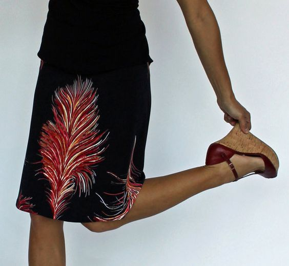 Red Feather Print Aline Skirt Black and Red by melaniegracedesigns, $79.00