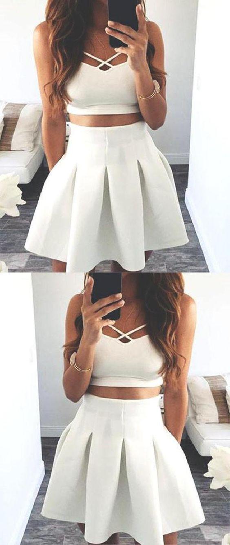 11+ Two piece white dress short ideas